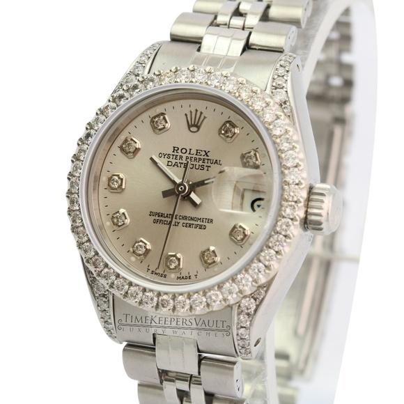 Rolex Accessories - Rolex Lady Datejust Silver Diamond Dial Lugs Bezel